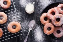 Delicious Doughnuts With Powdered Sugar