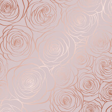 Vector Seamless Pattern With Roses Contours On Pink Backround.