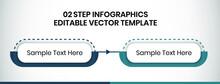 2 Steps Infographics Design Template - Graph, Pie Chart, Workflow Layout, Rectangular Diagram, Brochure, Report, Presentation, Web Design, Banner Editable Vector Illustration
