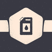 Grunge Canister For Motor Machine Oil Icon Isolated On Grey Background. Oil Gallon. Oil Change Service And Repair. Engine Oil Sign. Monochrome Vintage Drawing. Vector