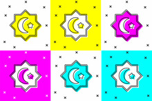 Set Islamic Octagonal Star Ornament Icon Isolated On Color Background. Vector