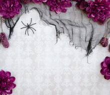 Scattered Fabric Flowers And Spooky Netting, On Damask Background With Copyspace