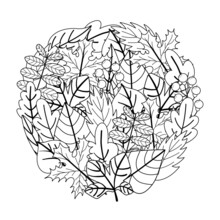 Circle Shape Coloring Page With Doodle Leaves. Black And White Floral Print For Coloring Book. Autumn Nature Outline Background. Vector Illustration