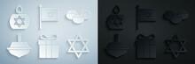 Set Gift Box, Jewish Sweet Bakery, Hanukkah Dreidel, Star Of David, Flag Israel And Burning Candle Icon. Vector