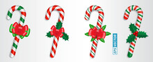 Set Of Realistic Candy Cane Christmas Isolated Or Crossed Sweet Candy Tied With A Bow Or Sweet Traditional Gift Christmas Holiday. Eps Vector
