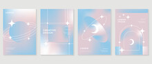 Fluid Gradient Background Vector. Cute And Minimalist Style Posters, Photo Frame Cover, Wall Arts With Pastel Colorful Geometric Shapes And Liquid Color. Modern Wallpaper Design For Social Media, Idol