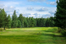 Golf Course, Landscape, Green Grass On The Background Of The Forest And A Bright Sky With Clouds. High Quality Photo