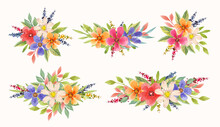 Beautiful Colorful Watercolor Flower Arrangement Collection