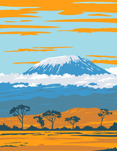 WPA Poster Art Of Mount Kilimanjaro, A Dormant Volcano In Tanzania The Highest Mountain In Africa And The Highest Single Free-standing Mountain In The World Done In Works Project Administration Style.
