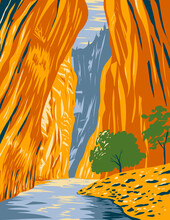 WPA Poster Art Of The Narrows Of Zion Canyon Situated On The North Fork Of The Virgin River In Zion National Park, Utah, United States USA Done In Works Project Administration Style.