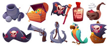 Set Pirate Items Cartoon Icons Cannon, Treasure Chest, Flag With Jolly Roger And Rum Bottle. Smoking Pipe With Skull, Captain Cocked Hat, Gun And Anchor With Parrot And Battle Ship Vector Illustration