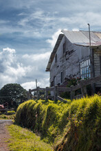 Vertical Shot Of A Beautiful Country House Made Of Wood In A Rural Area In Cartago Costa Rica