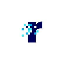 R Letter Lowercase Pixel Mark Digital 8 Bit Logo Vector Icon Illustration