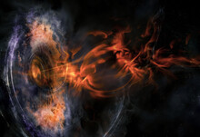 Abstract Space Wallpaper. Black Hole With Nebula Over Colorful Stars And Cloud Fields In Outer Space. Plasma Flame Bursts Out Of The Collapsar. Elements Of This Image Furnished By NASA.