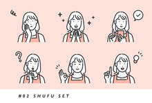 様々な表情やポーズをとる主婦の女性のイメージイラスト素材・シンプルタッチ