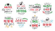 Christmas Funny Quotes Vector Card Text About Santa