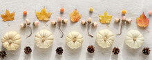 Decorative Autumn Panoramic Border From Natural Decor - White Pumpkins, Beige Acorns, Dry Fall Leaves And Pine Cones. Banner, Panorama. Flat Lay, Top View On Off White Cotton Textile. Soft Natural
