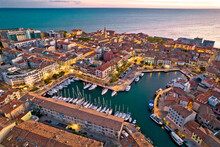 Town Of Grado Colorful Architecture And Waterfront Aerial Evening View