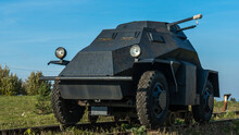 A Period WW2 German Armoured Scout Or Command Car. The Car Can Drive On Rails. Historical Concept.