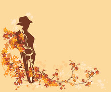 Jazz Musician Wearing Hat Playing Saxophone Among Fall Season Tree Branches With Bright Leaves -  Autumn Musical Billboard Background Vector Design