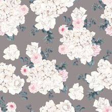 Watercolor Seamless Pattern With Pastel Flowers And Leaves, Isolated On Colored Background