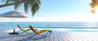 canvas print picture - Sonnenterrasse mit Sonnenliegen bei in der Mittagssonne