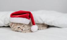 Sleepy Kitten Wearing Red Santas Hat Lies Under Warm White Blanlet On A Bed At Home