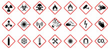 Set Of Hazard Warning Signs. Caution Danger Symbol, Vector Illustration, Isolated Icon Set.