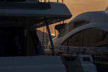 Beautiful View Of Marina Di Olbia Port And Yacht Marina At Sunset