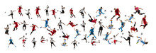 Collage Made Of Professional Football Soccer Players With Ball In Motion, Action Isolated On White Studio Background.