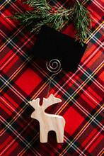 Christmas Reindeer Of Wood With Blank Name Card