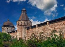 Wall And Towers Of Boris & Gleb Monastery. Established In The Late XIV Century. Village Borisoglebsky, Russia