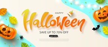 Happy Halloween Sale Banner With Festive Pumpkin, Spider, Bat, Glowing Garland And Autumn Leaves.Flyer Or Invitation Template For Halloween Party. Vector Illustration