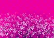 雪の結晶が描かれたピンク色の市松模様の背景