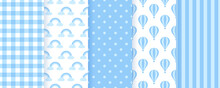 Baby Bow Pastel Patterns. Blue Seamless Backgrounds. Vector Illustration.