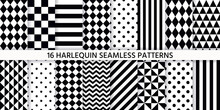 Harlequin Seamless Pattern. Vector Illustration. Black White Background With Rhombuses.