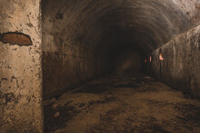 An Old Abandoned Air Raid Shelter A Sandstone Cellar And Bunker
