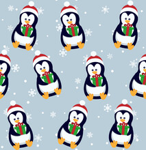 Penguins Seamless Pattern. Cute Baby Penguins In Winter Clothing And Hats, Christmas Arctic Animal, Kids Textile Or Wallpaper Vector Texture.