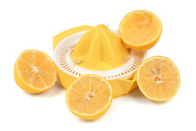 Citrus Squeezer With Lemons Isolated On White.