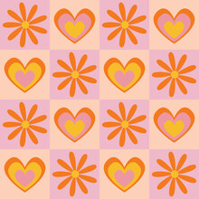 Bold, Pink Yellow And Orange Seamless Vector Pattern. 1970's Groovy Design With Geometric Tiled Flowers And Hearts. Seventies Style, Retro, Psychedelic, Floral Background Wallpaper Texture Print.