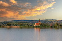 Nove Mlyny Reservoir And In The Background The Flooded Church Of St. Linhart And Palava With The Ruins Divci Hrady In The Czech Republic.