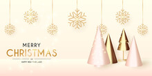 Christmas And New Year Background. Conical Abstract Gold Christmas Trees. Snowflakes Hanging On Ribbon. Bright Winter Holiday Composition. Greeting Card, Banner, Poster. Vector