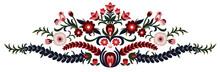 Folk Art Center Piece Vector Illustration Embroidery Fall Autumn Layout