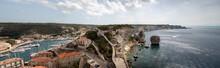Panorama De La Mer Et Ces Roches De Bonifacio Citadelle Médiévale Perchée Sur Une Falaise