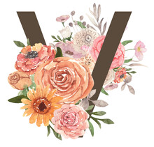 Alphabet Letter A Decorated With Festive Watercolor Flowers