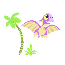 Cute Little Pterosaur With Palm Tree And Bush