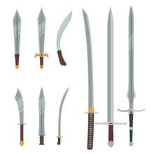 Ancient Sword Set, Collection Of Vector And Flat Swords, Katana, Greece, Arabian, Roman, Barbar, Gandalf Sword, LOTR Sword, Game Sword Object