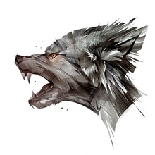 Painted Portrait Of Animal Wolf On White Background