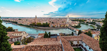 Panoramic From The Top Of The Castle Of Verona, With A View Of The Roofs And The Alleys Of The Medieval City Along The River.