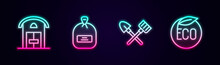 Set Line Farm House, Pack Full Of Seeds, Shovel And Rake And Eco Healthy Food. Glowing Neon Icon. Vector